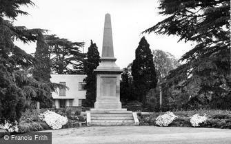 Braintree, the War Memorial, Public Gardens c1955