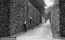 Bramham, Gardeners Cutting The Beech Hedge 1909