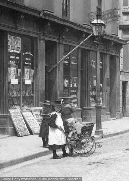 Bridgend, Girl And Pram 1898
