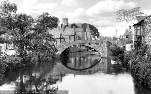Photo of Bridgend, Old Stone Bridge And River Ogmore c.1955
