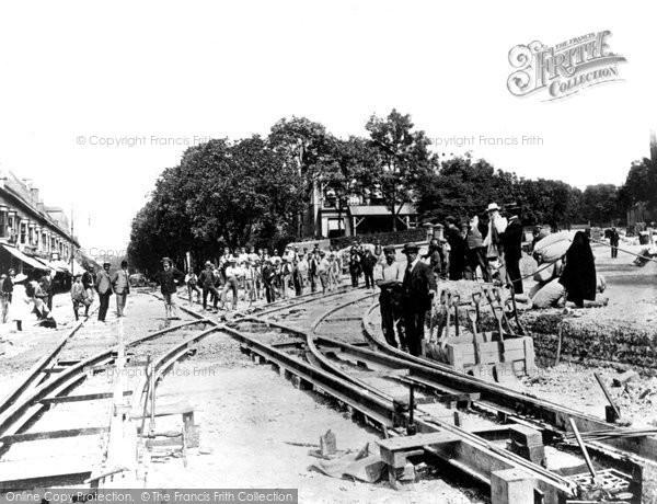 Brighton, Tramway Construction, Lewes Road c.1900