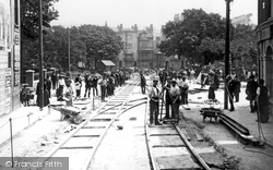Brighton, Tramway Construction, The Steine c.1900