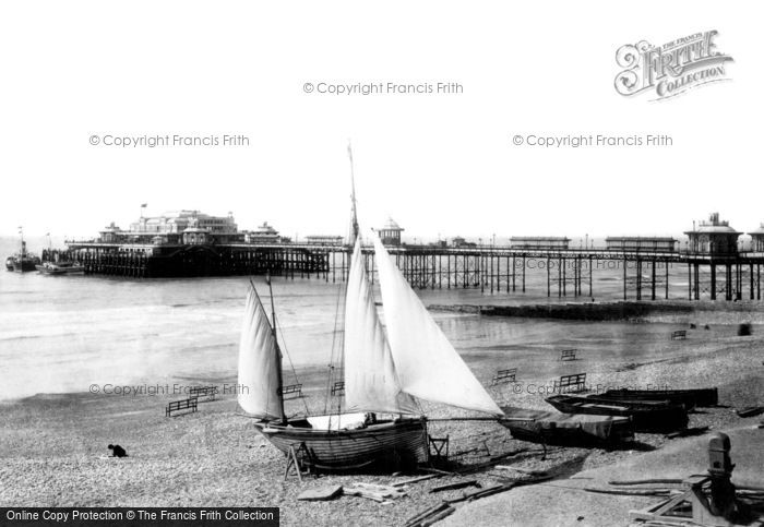 Brighton, West Pier Pavilion From King's Road 1894