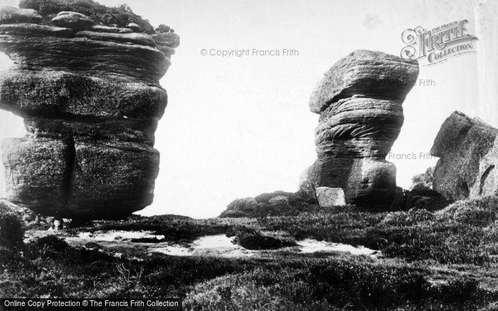 Photo of Brimham Rocks, Pivot Rock And Yoke Of Oxen 1895