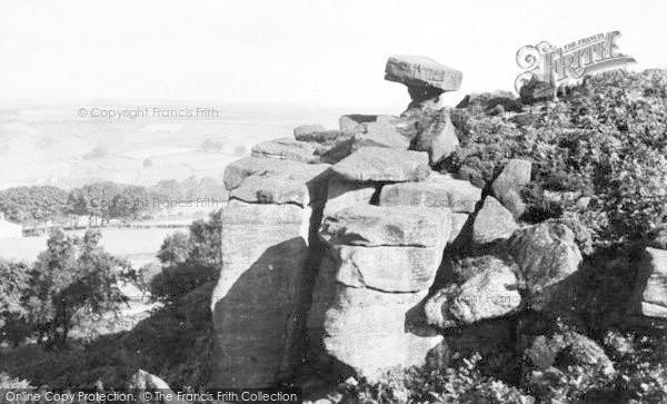 Photo of Brimham Rocks, The Druid's Writing Desk c.1960