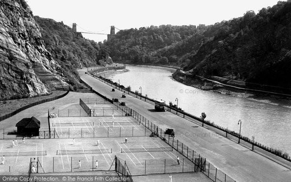 Photo of Bristol, Tennis Courts, Portway and Avon Gorge c1935