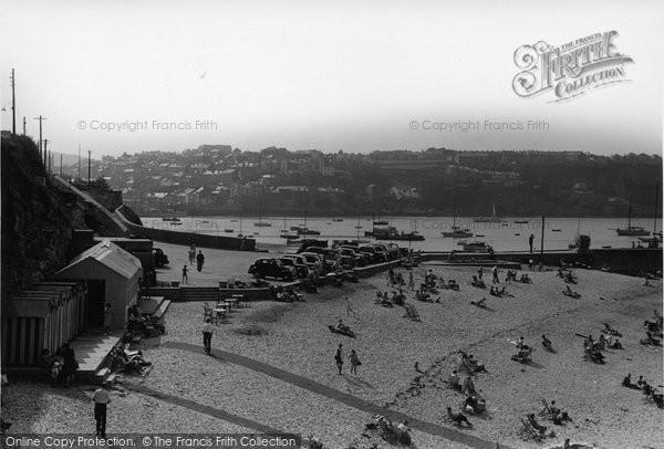 Brixham, Beach And Car Park c.1950