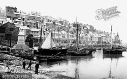 Brixham, Harbour And Prince Of Orange Monument 1891