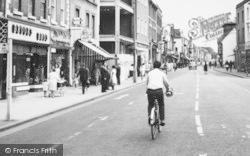Bromsgrove, High Street, Cyclist c.1965