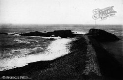 Bude, Breakwater And Chapel Rock 1890