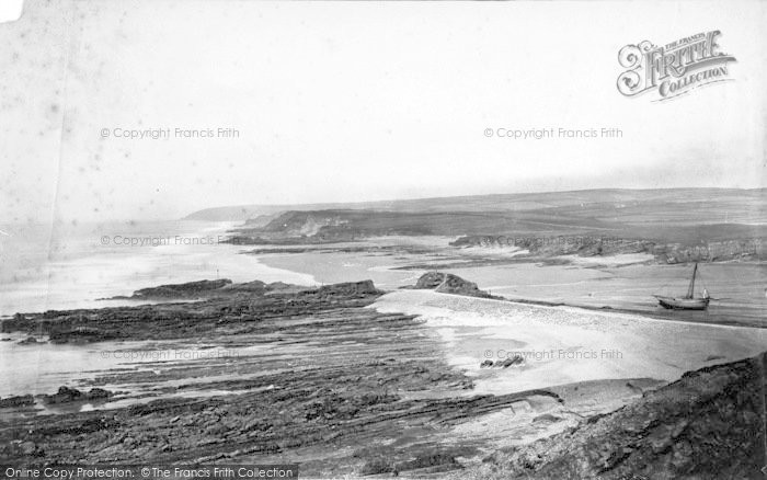 Photo of Bude, Up The Coast From Storm Tower c.1871