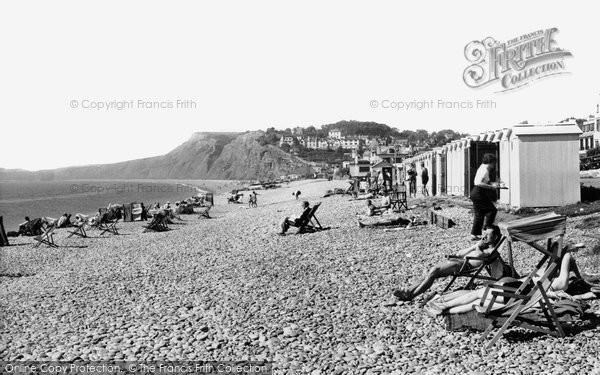 Budleigh Salterton, The Beach c.1955