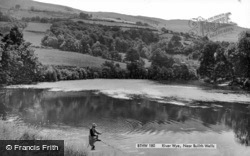Builth Wells, Fisherman At The River Wye c.1960