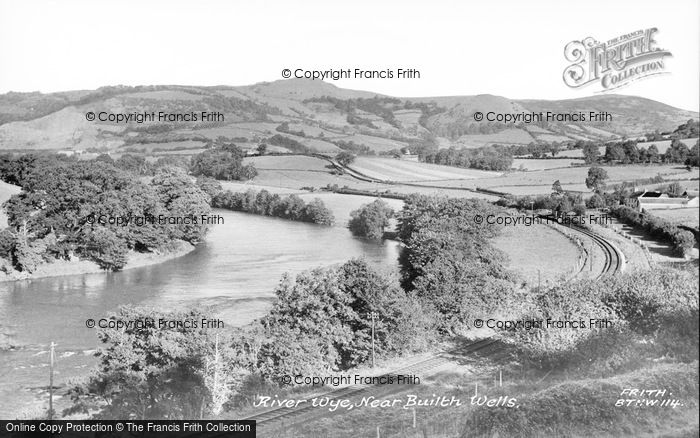 Photo of Builth Wells, River Wye c.1955