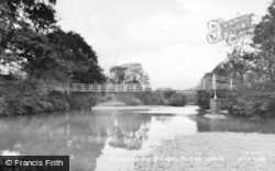Builth Wells, Suspension Bridge c.1955