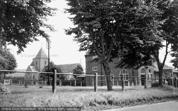 Bulford, Bulford Camp, The Post Office And Church c.1955