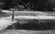 Burghfield Common, The Fishpond, A Girl And Her Dog c.1955