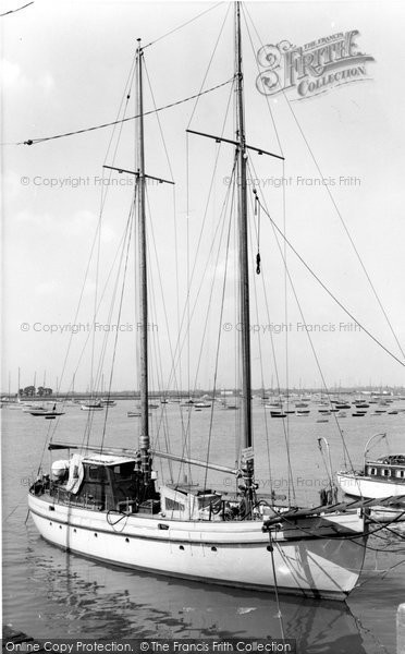 Burnham On Crouch, Yacht On The River Crouch c.1965