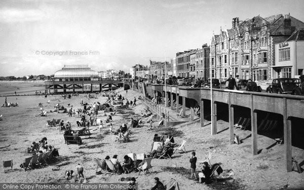 Burnham On Sea, Central Beach c.1955