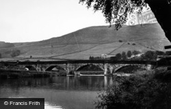 Burnsall, The Fell And The Bridge c.1955