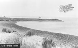 Burry Port, The Beach And Lighthouse c.1955
