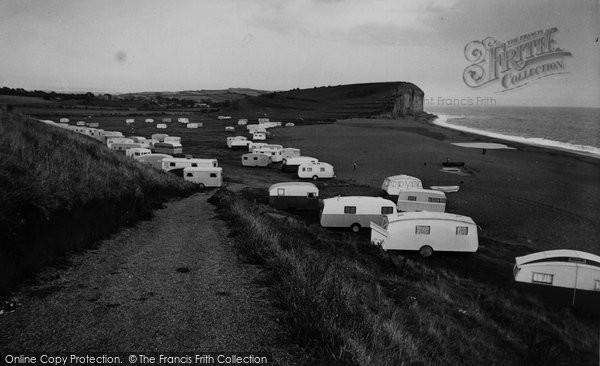 Photo of Burton Bradstock, Freshwater Caravan Park c.1955