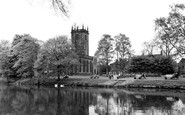 Burton Upon Trent, The River Trent And St Modwen's Church c.1965