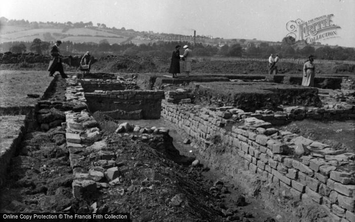 Photo of Caerleon, Visitors Exploring The Roman Remains 1955