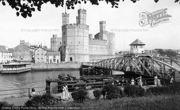 Photo of Caernarfon, Aber Bridge And Castle c.1955