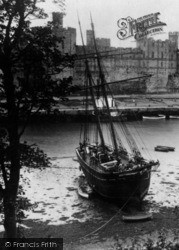 Caernarfon, Castle And Ship On River Seiont c.1935