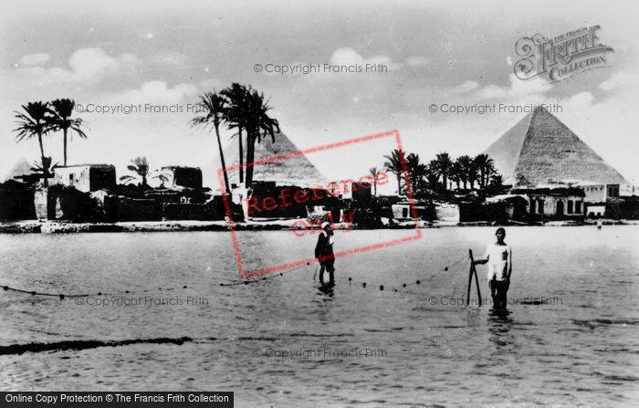 Photo of Cairo, Fishermen And The Pyramids c.1935
