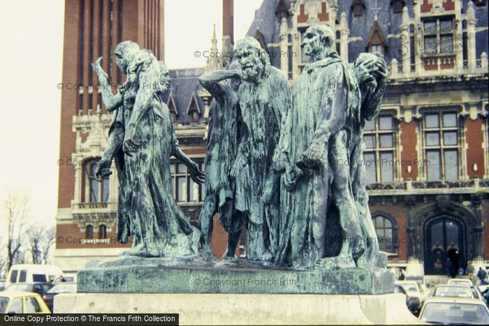 Photo of Calais, Burghers Of Calais Statue, The Town Hall 1987