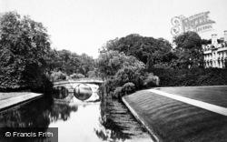 Cambridge, Clare College And Bridge c.1873