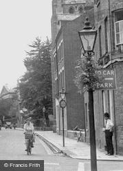 Cycling Up Trumpington Street c.1955, Cambridge