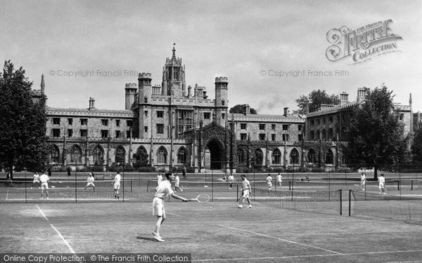 Cambridge, St John's College Tennis Court c.1955