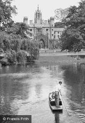The Cam And St John's College c.1955, Cambridge