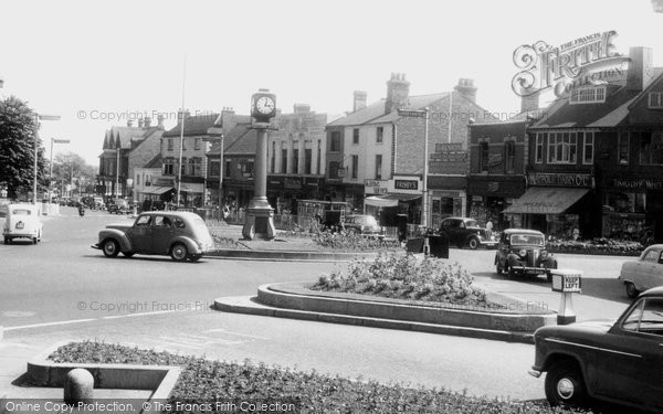 Cannock, Clock Tower and Market Place c1955