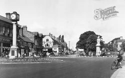 Cannock, Clock Tower And War Memorial, Market Place c.1955