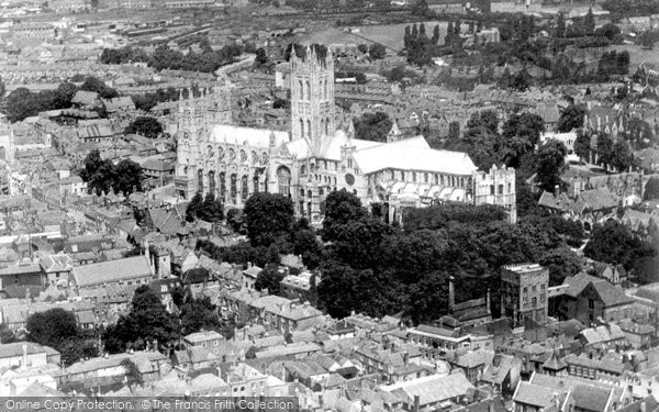 Canterbury, Cathedral from the Air c1935