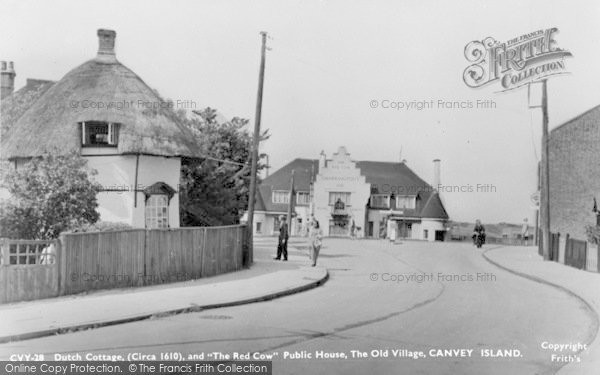 Dutch Cottage and Red Cow P.H., Canvey Island, c.1955, Essex.  (Neg.  C237028)  © Copyright The Francis Frith Collection 2005. http://www.francisfrith.com