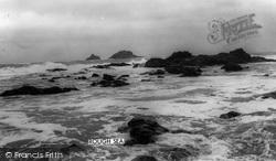 Cape Cornwall, Rough Sea c.1955