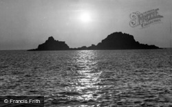 Cape Cornwall, The Brison Rocks At Sunset c.1960