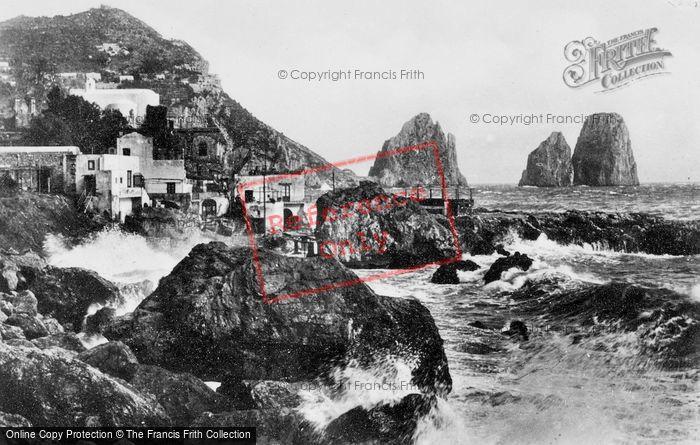 Photo of Capri, Rough Sea At Marina Piccola c.1930