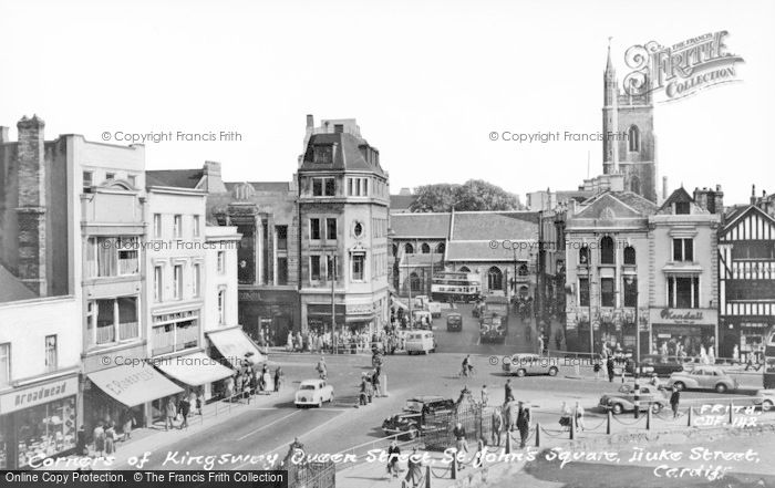 Photo of Cardiff, Corners Of Kingsway, Queen Street, St John's Square And Duke Street c.1960