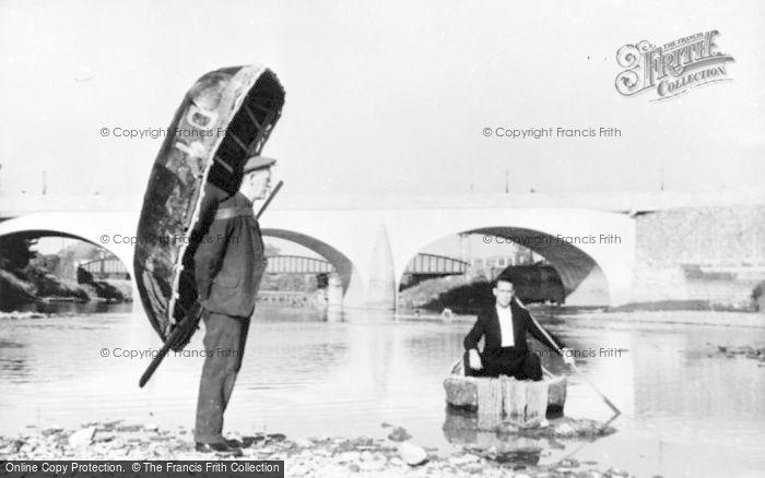 Photo of Carmarthen, Coracle Men And Bridge c.1950