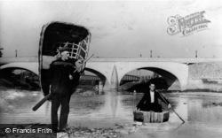Coracle Men And Bridge c.1950, Carmarthen