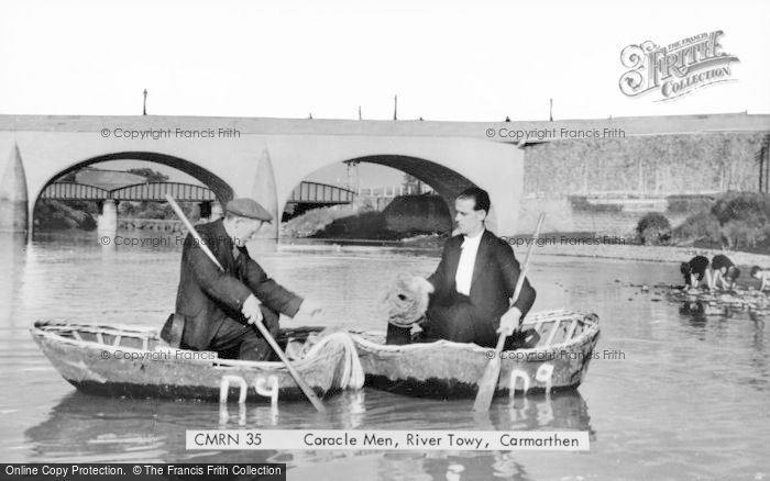 Photo of Carmarthen, Coracle Men On The River Towy c.1950