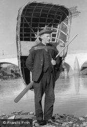 Carmarthen, The Coracle Man c.1950