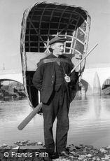 Carmarthen, the Coracle Man c1950