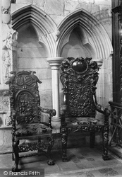 Cartmel, The Priory Church, Ancient Chairs 1912